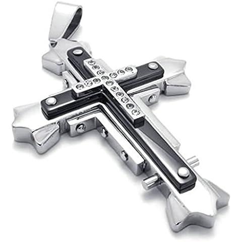 Daesar Joyería Collar Colgante Acero Hombre, Cruz Crucifijo Con Balnca Circonita Plata Negro Joya
