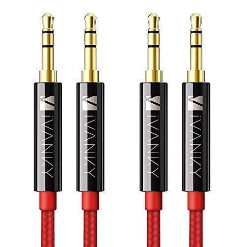 iVANKY Cable Jack 3,5 mm [1,2m, Pack 2, Sonido Hi-Fi, Nylon Trenzado] Cable Auxiliar/AUX Compatible con Coche, Auriculares, Altavoz, Móviles, Tabletas y Otros Dispositivos con Jack de 3,5mm - Rojo