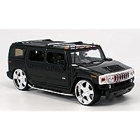 Hummer H2 SUV Schwarz Höher Gelegt 1//24 Jada Modell Auto mit oder ohne individ..