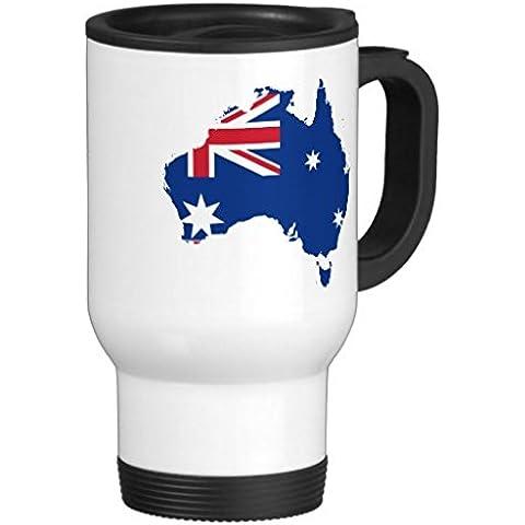 Hiekon mappa bandiera australiana Tazza da viaggio in acciaio INOX, 14G