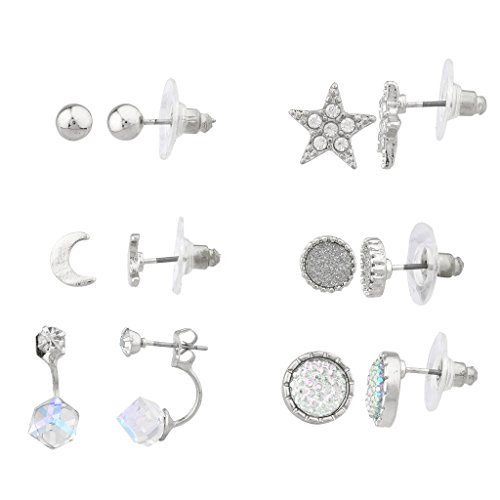 Lux accessori argento stella Multi Orecchini Set (6pc)