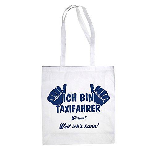 Ich bin Taxifahrer - Baumwolltasche Jutebeutel Weiss-Dunkelblau