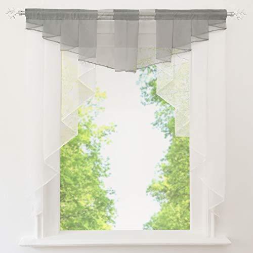 EZ GLAM Fenstergardine mit Schön Falten Kleinfenster Voile Tunnelzug Scheibengardine (B*H 100 * 100cm, Hellgrau) (Vorhänge Land Küche)