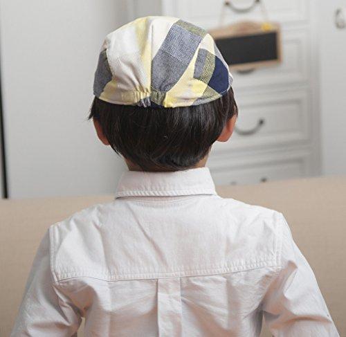 Bigood Béret Bébé Enfant Coton Casquette Visière Soleil Plage Soirée Carreaux Jaune