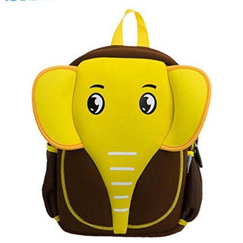 Georgie Porgy 3D Mochila Infantile Animal Bolsas Escolares de niños niñas (Elefante-Brown)