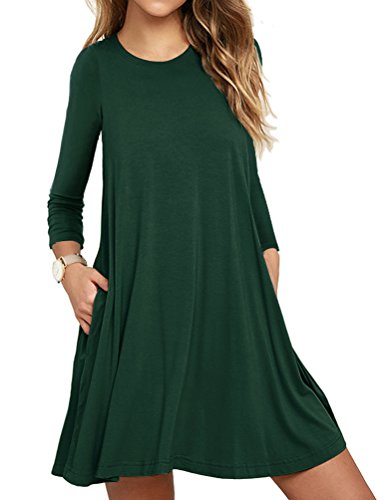 VIISHOW Womens Basic Causal Tunic Top Mini T-Shirt Kleid (Dunkelgrün S) (Langarm Mini-kleid Xl)