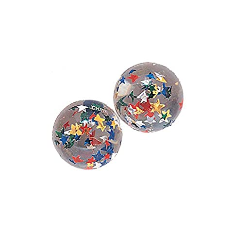 Unique Party - 45002 - Paquet de 12 Balles Rebondissantes Transparentes à Étoiles pour Pochettes - Cadeau