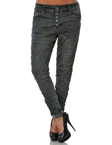 Damen Boyfriend Jeans Hose Reißverschluss Knopfleiste (weitere Farben) No 14242, Farbe:Steingrau, Größe:XS / 34