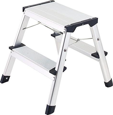 1PLUS Aluminium Tritt / Leiter Trittleiter Klapptritt 2 x 2 Stufen bis 150 kg belastbar, Höhe: ca. 40 cm