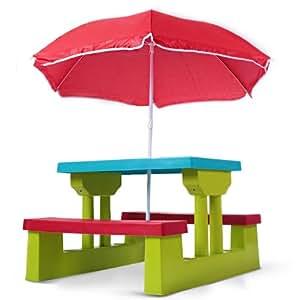 Infantastic Tavolo da bambini con ombrellone tavolino esterno per bambini