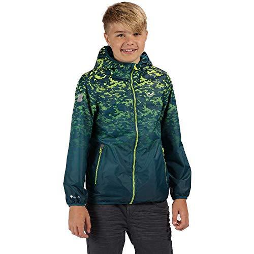 Regatta Kinder Printed Lever Waterproof and Breathable Lightweight Hooded Pack Away Jacke, ozeanblau, 14 Jahre