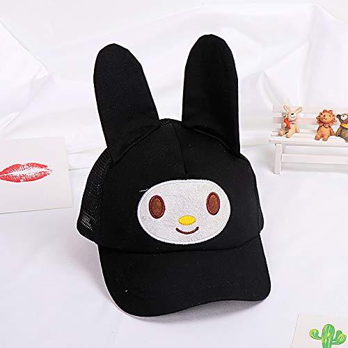 mlpnko Cartoon Kaninchen Ohr Form Kind Hut Cartoon Baby Baseball Cap Mädchen Anti-Milben-Schirmmütze schwarz 50cm geeignet für 2-4 Jahre alt
