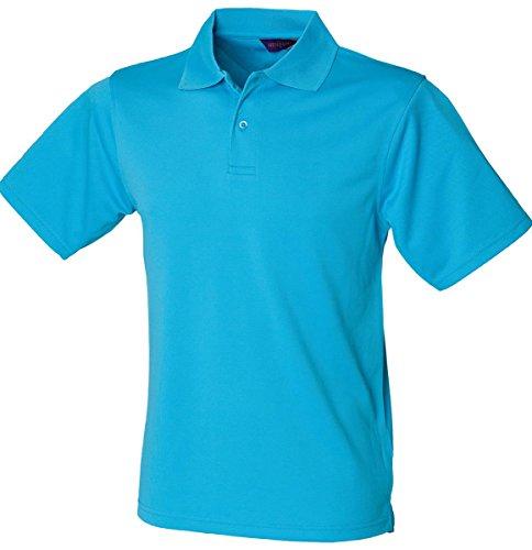 Henbury da uomo in Micro piqué, maniche articolate Coolplus, Polo traspirante Blu