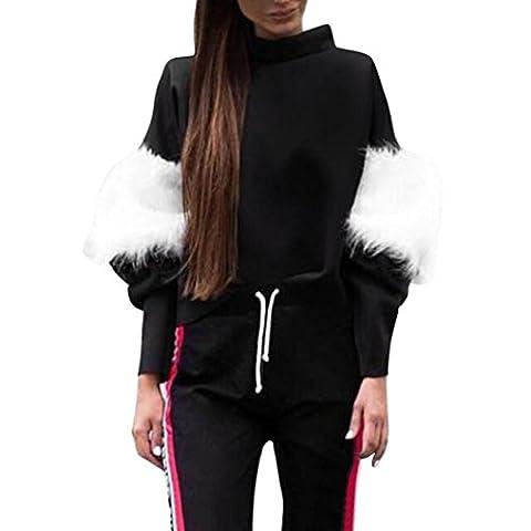 Sweatshirt damen Kolylong® Frauen Elegant Plüsch Langarm Sweatshirt Herbst Winter Warm Bluse Locker Langarm Shirts Sport Pullover Mode T-Shirt Hemd Tops (L, (Zurück Pullover)