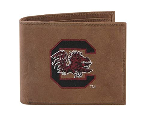 NCAA South Carolina Gamecocks Zep-Pro Crazyhorse Leather Passcase Embroidered Wallet, Light Brown by ZEP-PRO