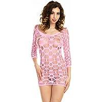 46eca34136 Sexy Neon Pink Bodystocking Fishnet Micro Mini Dress Size 8-12