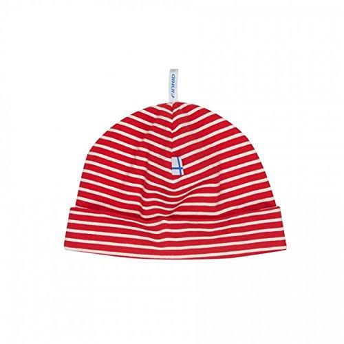 b3e31527970 Finkid Hittili Red Off-white Striped Baby Jersey Beanie Hat