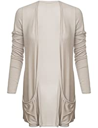 Ladies Boyfriend Long Sleeve Pocket Womens Top Open Cardigan Size 8 10 12 14 (M/L (UK 12/14), Beige)