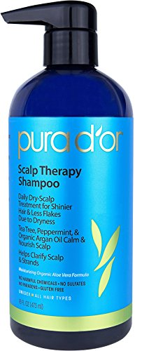 PURA D'OR Scalp and Dandruff Therapy Shampoo with Argan Oil and Tree Tea, 16 fl. oz by PURA D'OR