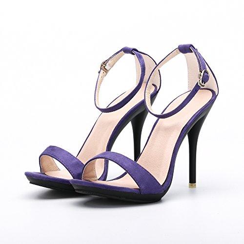 OCHENTA Sandali stiletto estivi con cinturino alla caviglia, chiusura fibbia, per donna Camoscio viola