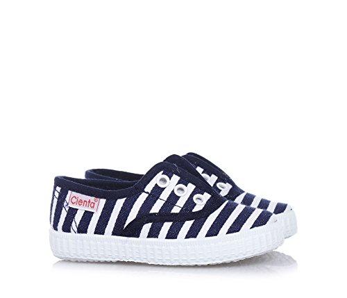 CIENTA - Chaussure bleue et blanche à rayures en tissu, made in Spain, pièce élastique sur la partie frontale, garçon, garçons Blanc-Noir