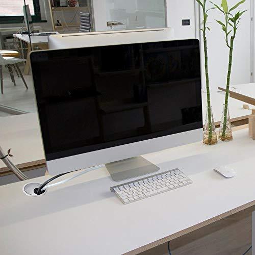 Kabeldurchführungen Schreibtisch, HO2NEL 2 Pcs Kabeldurchlass Edelstahl 60 mm Rund Kabeldose mit Bürste für Schreibtische Büro Arbeitsplatten