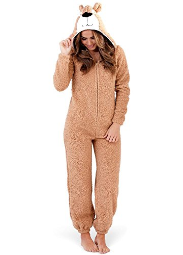 Loungeable Damen Jumpsuit Overall Tiere Gesichter Öhrchen 3D Kapuze Teddy Bear beige 79735 XL (Teddy Bär Kostüm Damen)