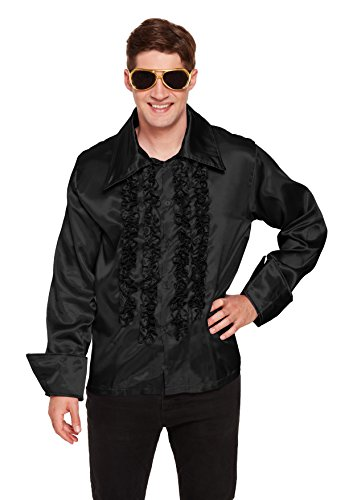 Best Fancy Kleid Herren Disco Shirt 1970er Jahre – Schwarz (One ()