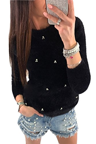 "YACUN Damen Mit Langen Ã""rmel Perle Slim Lockere Pullover Sweatshirts Black S"