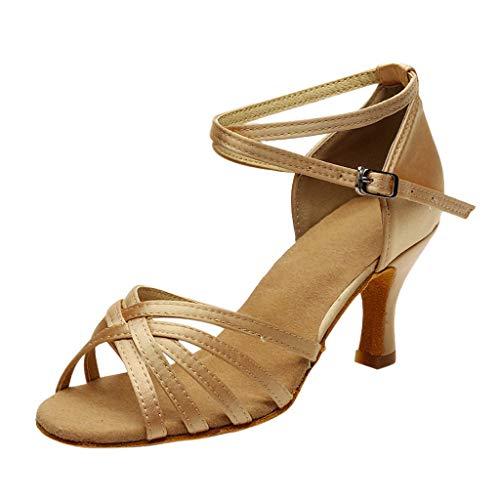 Clacce Damen Sandalen Ausgestelltes Heel Super-Satin mit Pailletten Latein Tanzschuhe Art-Frauen-reizvoller Salsa-Jazz-Tanzschuhe Ballsaal-lateinischer Tango-Partei-Tanzen-Schuh-hohe Absätze
