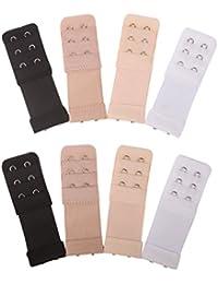 Senkary 8 Pieces Bra Extenders 2 Hooks 3 Rows Elastic Bra Strap Extenders Bra Band Extension for Women Ladies, 4 Colors