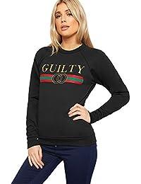 WearAll Women's Glitter Slogan Print Guilty Sweatshirt Top New Ladies Long Sleeve Jumper 8-14