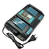 SHS DC18RD Dual Port Ladegerät Kompatibel mit Makita 18V und 14.4V Lithium-Ionen Akku BL1815 BL1830 BL1840 BL1850 BL1860 / BL1415 BL1430 BL1440 BL1450