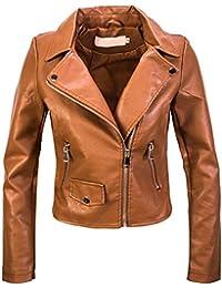 Amazon.it  Giacca Pelle Donna Marrone - Donna  Abbigliamento a32abf2cad4