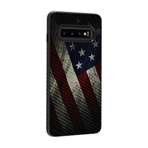 TurtleArmor Schutzhülle für Samsung Galaxy S10+ / S10 Plus / G975 (schmale, zweilagige Hartschale, Hybrid-Gravur), US-Flagge
