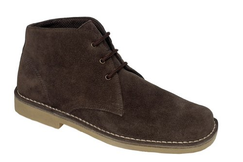 Roamers Square Toe 3 Eye Mens Desert Boots Dark Brown -