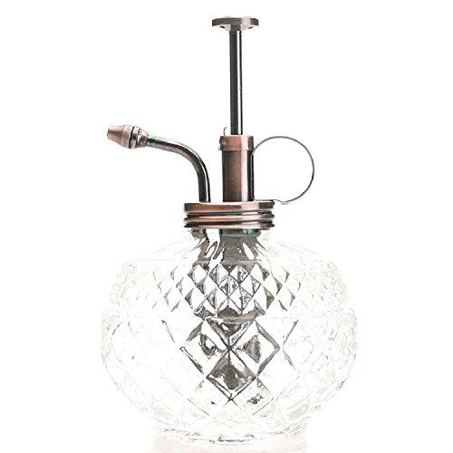 Purismus-Stil Pflanze Mister- Klare Glas Flasche & Messing-Spritzgerät (Antikes Kupfer Farbe) (Flaschen Glas Antike)