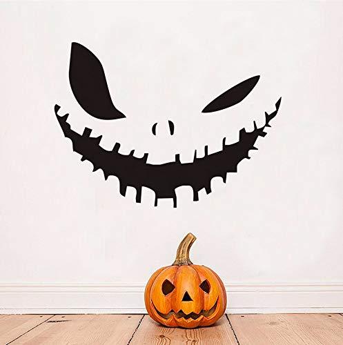 Hallowmas Kürbis Lächeln Abnehmbare Vinyl Wandaufkleber Halloween Dekoration Wanddekor Vinyl Aufkleber Dekoration Zubehör79 * 58 cm