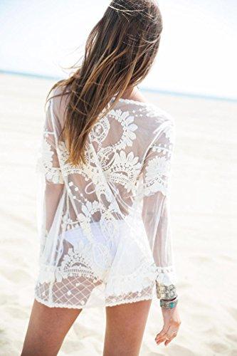 Dooxi Damen Spitze Perspektive Bikini Cover Up Kleid Sommer Lange Ärmel StrandKleider Beige