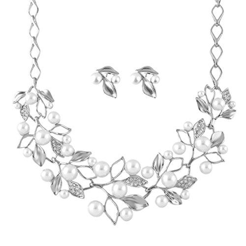 Xiang Retro del trifoglio del foglio della perla d'imitazione clavicola collana set con orecchini per (Perla Del Trifoglio)