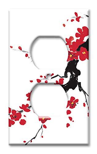 Red Blossoms Wandplatte/Schalterplatte Steckdose Mehrfarbig -