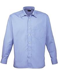 Premier - Camisa lisa de manga larga con bolsillo formal/para trabajar caballero/hombre