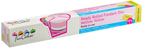 FunCakes Ready Rolled Fondant Disc -Mellow yellow, 1er Pack (1 x 430 g)