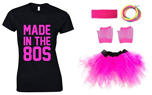 Made in the 80s Ladies Outfit - T-shirt and Accessories - Five Sizes from 8 to 16
