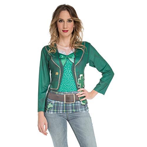 viving Kostüme viving costumes231226Saint Patrick Frau Lange Ärmel T-Shirt (klein) (Saint Dress Up Kostüm)