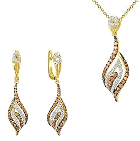 SaySure - Jewelry Sets Champagne CZ Diamond Yellow Gold Plated