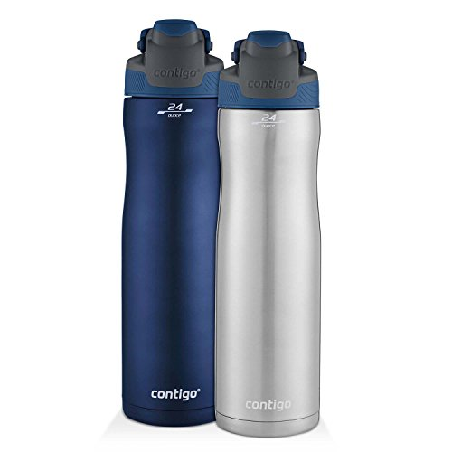 Contigo AUTOSEAL Chill Stainless Bottle 24oz 2-Pack: SS/Monaco & Monaco Blue Ss Tumbler