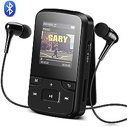 AGPTEK G6 Mp3 Bluetooth 4.0 8Go avec Clip Lecteur MP3 Sport Ecran en Couleur TFT 1,5 Pouces- Noir