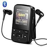 AGPTEK G6 Portable Lettore MP3 8GB Bluetooth con Radio FM e Registratore Vocale, Mini Sport Mp3 con Clip, Auricolare, Bracciale, Custodia in Silicone, Nero