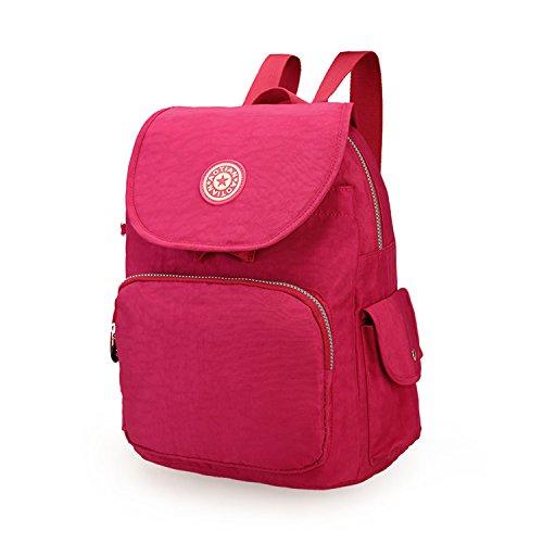 Outreo Zaino Donna Impermeabile Borsa Libri Borse Scuola Sacchetto Leggero Zainetto Università Backpack per Sport Borsello Viaggio Rosso